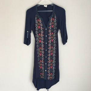 TINY Embroidered navy blue high low belted dress